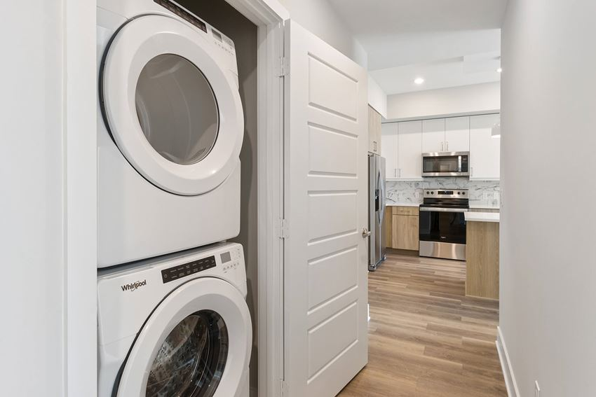 Stackable washer and dryer at Morea Apartments in Pompano Beach FL