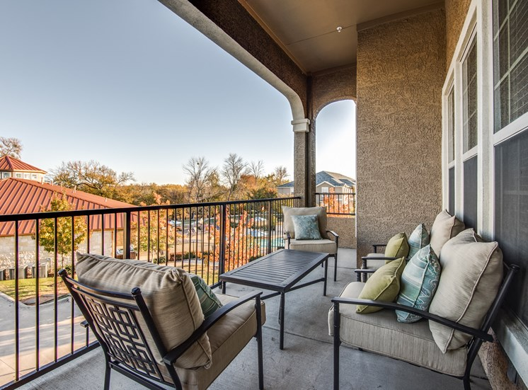 Private Balcony with Seating Arrangement at Orion McCord Park, Texas, 75068