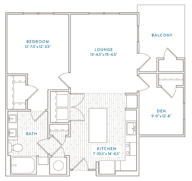 One Bedroom One Bath with Den Floor Plan Capital Club at Indian Land