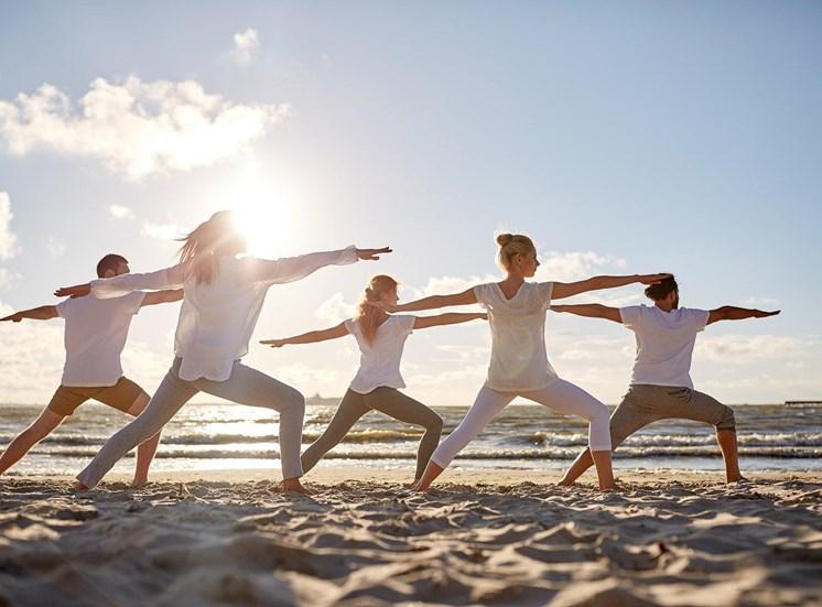 393 North Stock photo yoga on beach