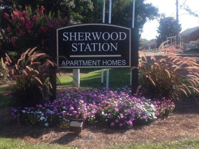 Sherwood Station entrance sign.