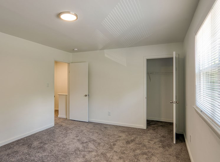 Closet space in bedroom at Crystal Lakes