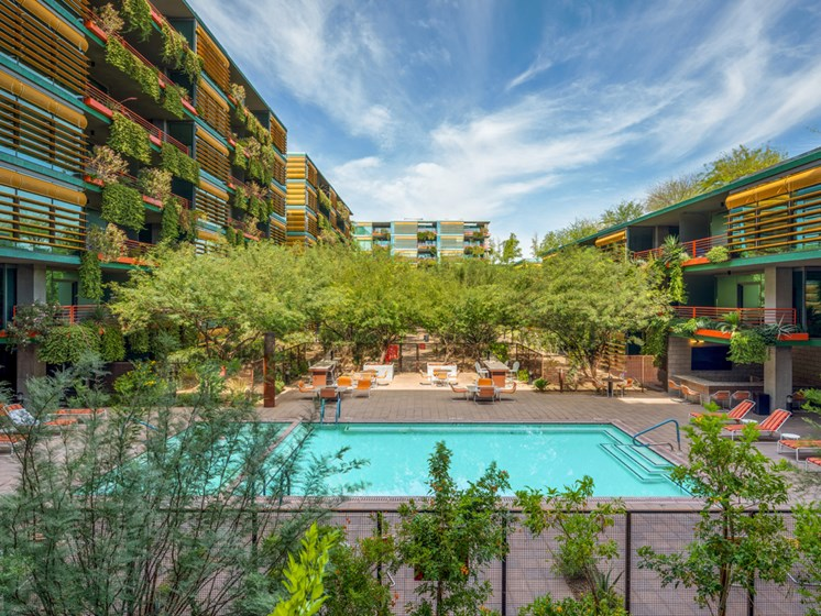 Enjoy luxurious pool days at our luxury apartment complex in Old Town Scottsdale, AZ