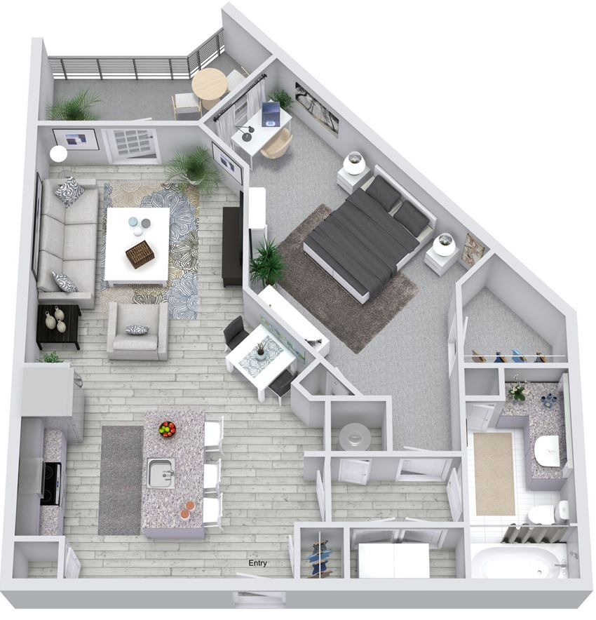 1 Bedroom 1 Bath 749 sqft (A2) Floorplan at NorthPointe, Greenville