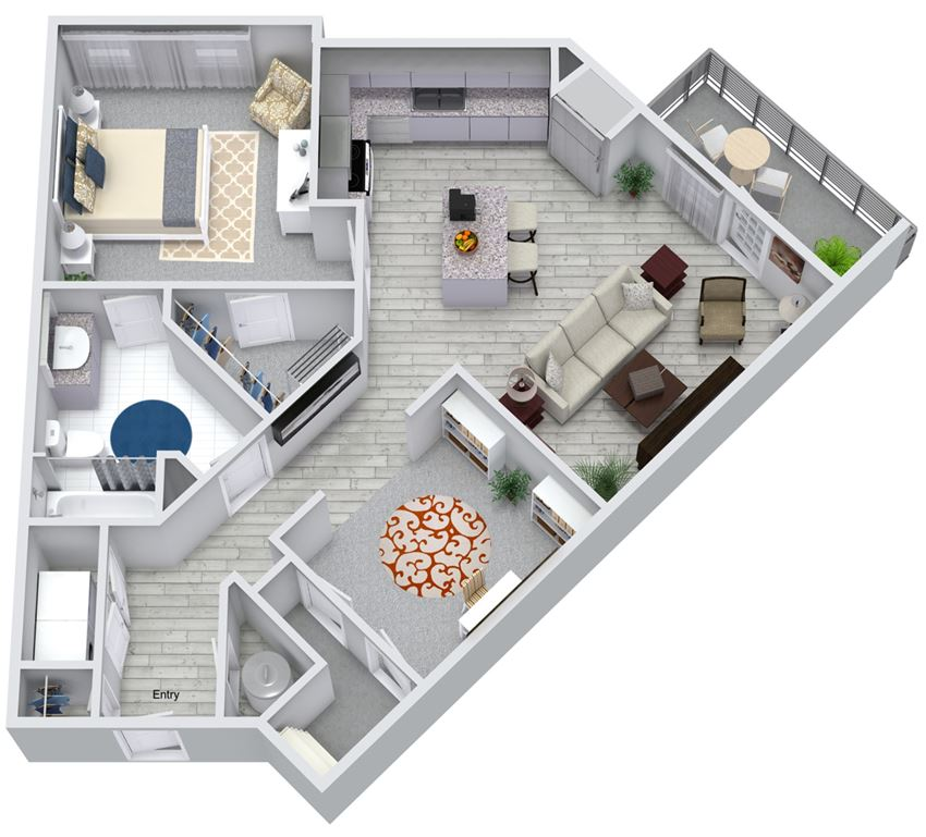 1 bed 1 bath floorplan, at NorthPointe, Greenville, SC 29601