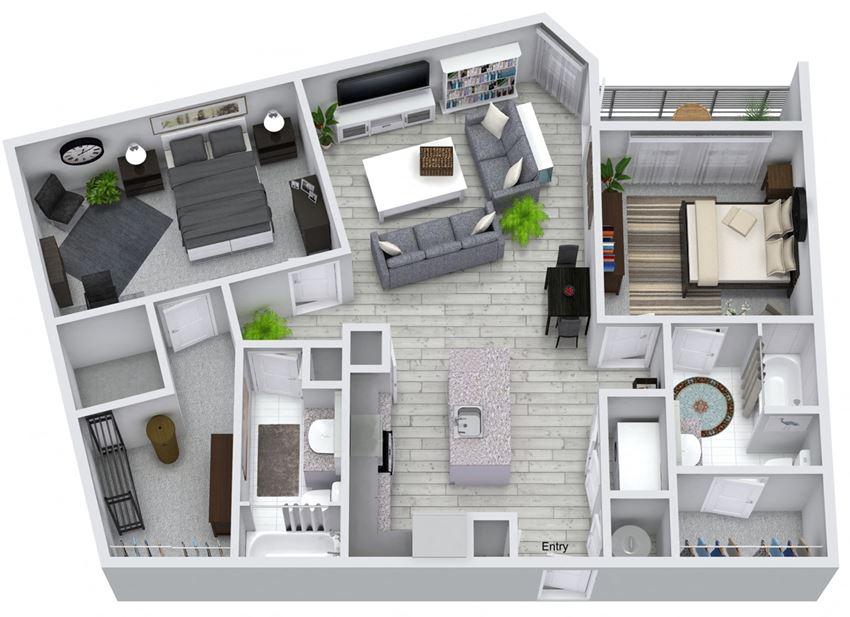 2 bed 2 bath floorplan, at NorthPointe, Greenville, SC