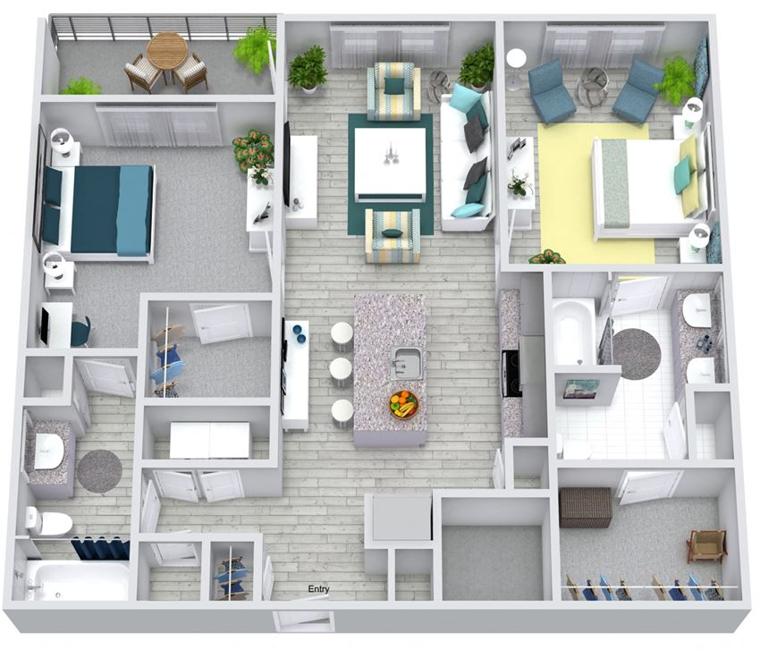 2 bed 2 bath floorplan, at NorthPointe, Greenville South Carolina