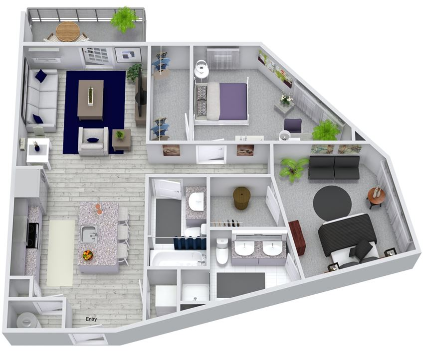 2 bed 2 bath floorplan, at NorthPointe, Greenville