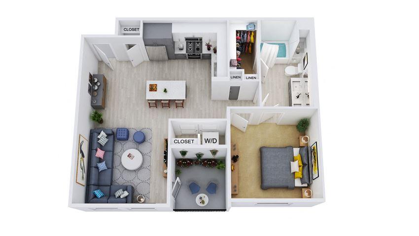 A1 – 1 Bedroom 1 Bath Floor Plan Layout – 825 Square Feet
