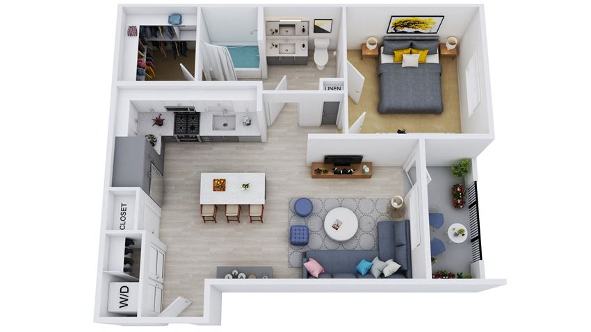 A2-L1 - 1 Bedroom 1 Bath Floor Plan Layout - 954 Square Feet