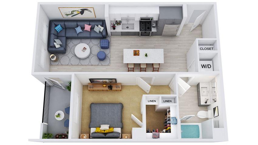 A3-D – 1 Bedroom 1 Bath Floor Plan Layout – 747 Square Feet