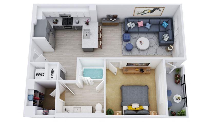 A4 - 1 Bedroom 1 Bath Floor Plan Layout - 743 Square Feet