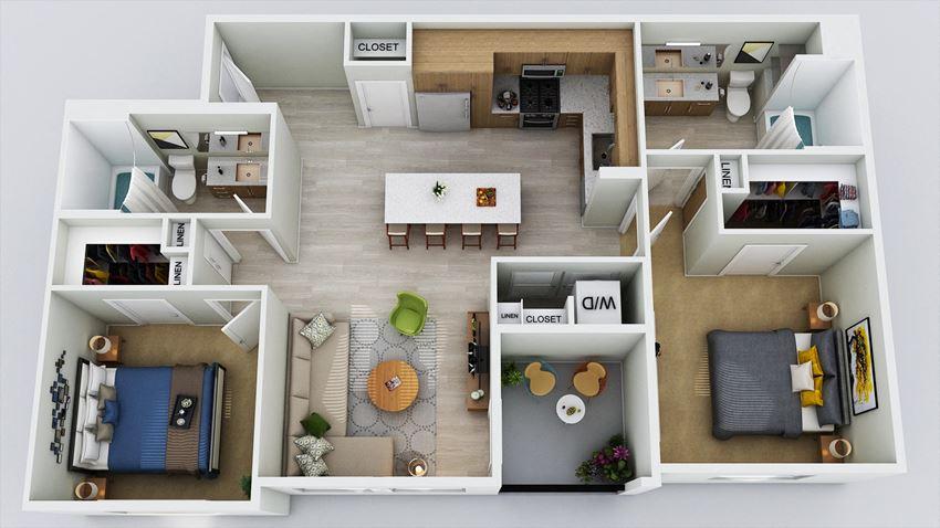 B1 – 2 Bedroom 2 Bath Floor Plan Layout – 1053 Square Feet