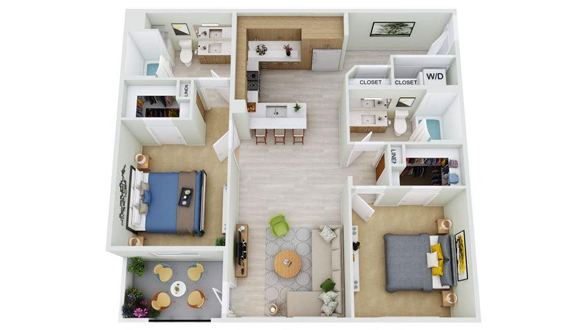 B3-D - 2 Bedroom 2 Bath Floor Plan Layout - 1111 Square Feet