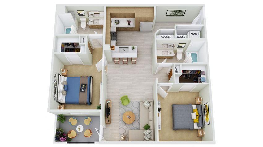B3.2-D - 2 Bedroom 2 Bath Floor Plan Layout - 1208 Square Feet