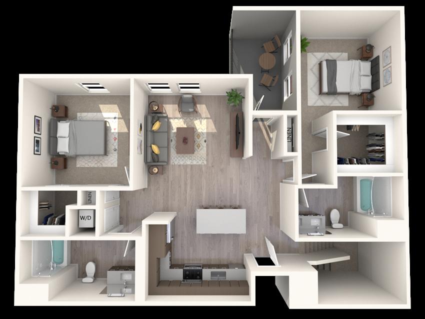 B4-D - 2 Bedroom 2 Bath Floor Plan Layout - 1328 Square Feet