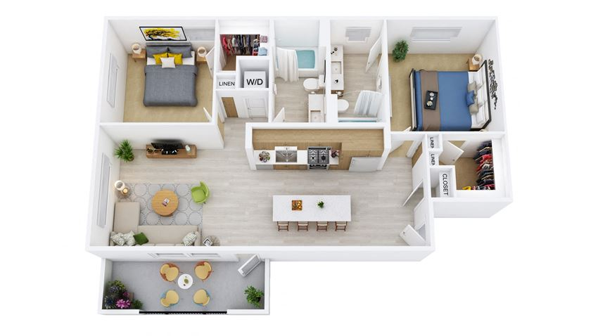 B5.2-D - 2 Bedroom 2 Bath Floor Plan Layout - 1053 Square Feet