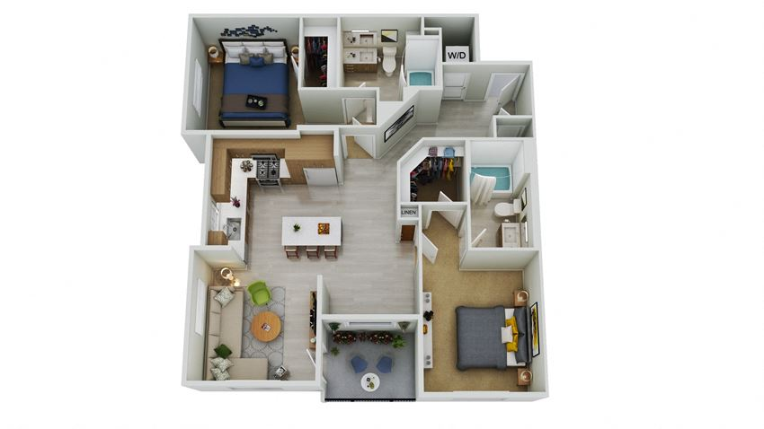 B7.1-D - 2 Bedroom 2 Bath Floor Plan Layout - 1291 Square Feet