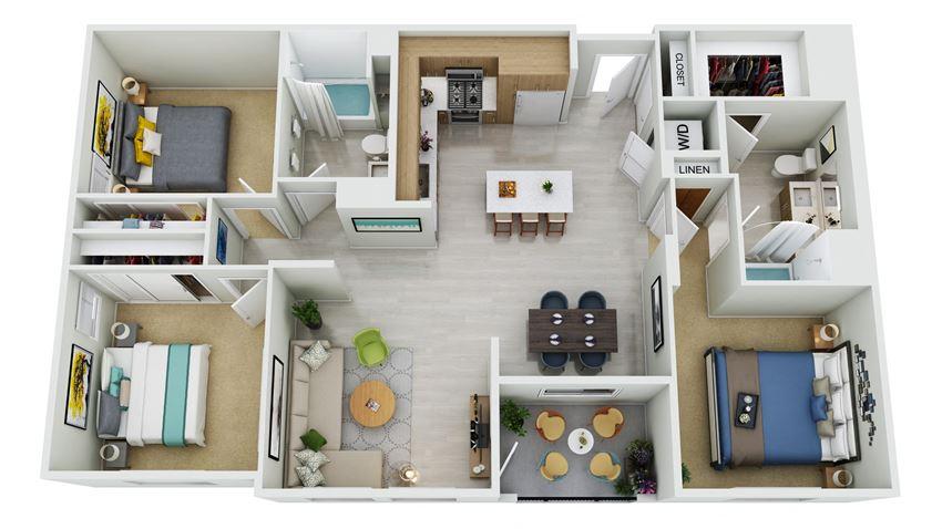 C1.1-D - 3 Bedroom 2 Bath Floor Plan Layout - 1490 Square Feet
