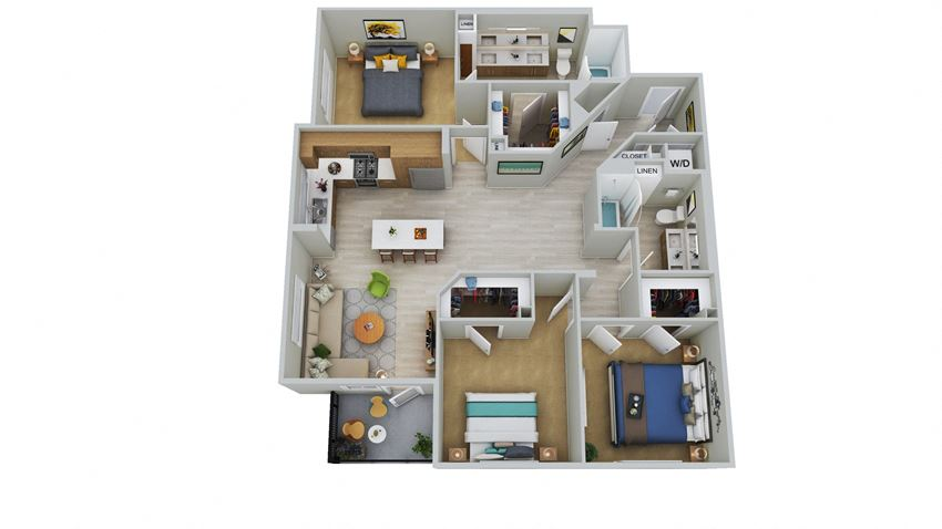 C2-D - 3 Bedroom 2 Bath Floor Plan Layout - 1520 Square Feet
