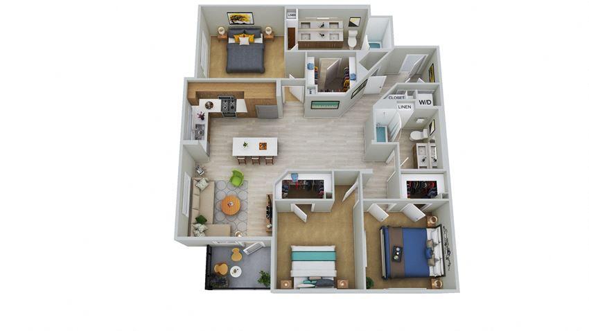 C2 - 3 Bedroom 2 Bath Floor Plan Layout - 1509 Square Feet