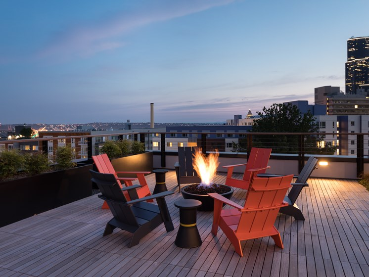 Seattle Apartments for Rent-Metroline Flats Apartments Rooftop With Fire Pit And 360 View Of City And Planters