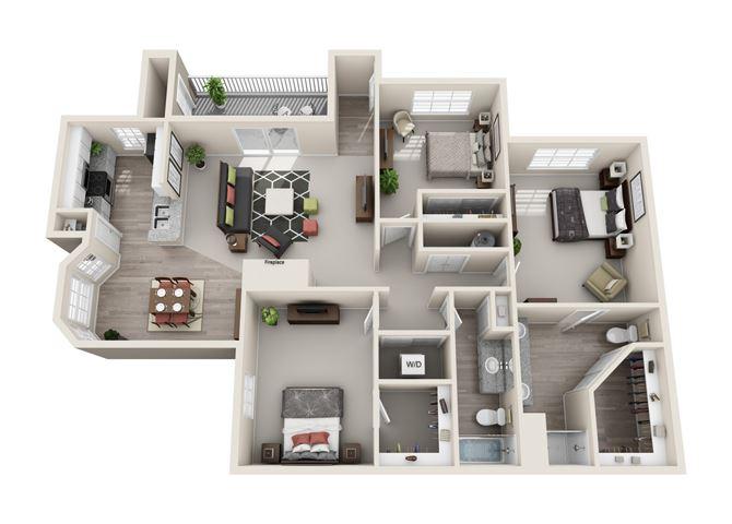 Cottonwood Three Bedroom and Two Bathroom Floorplan
