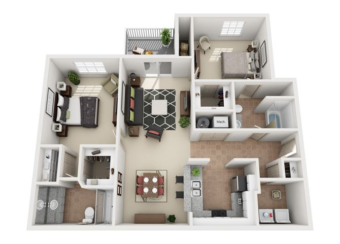 Evergreen Two Bedroom And Two Bathroom Floorplan