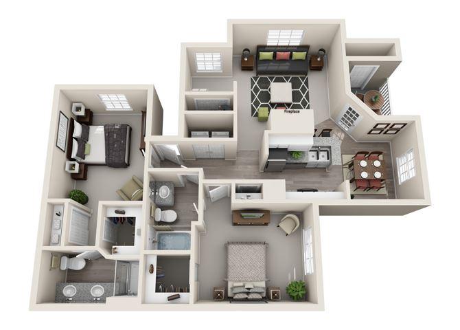 Sage Two Bedroom and Two Bathroom Floorplan