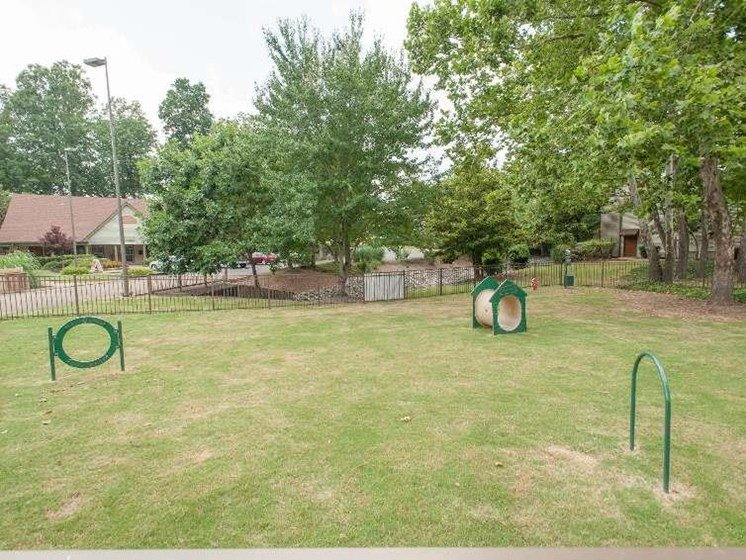 Dog park at Woods of Post House Apartments in Jackson, TN