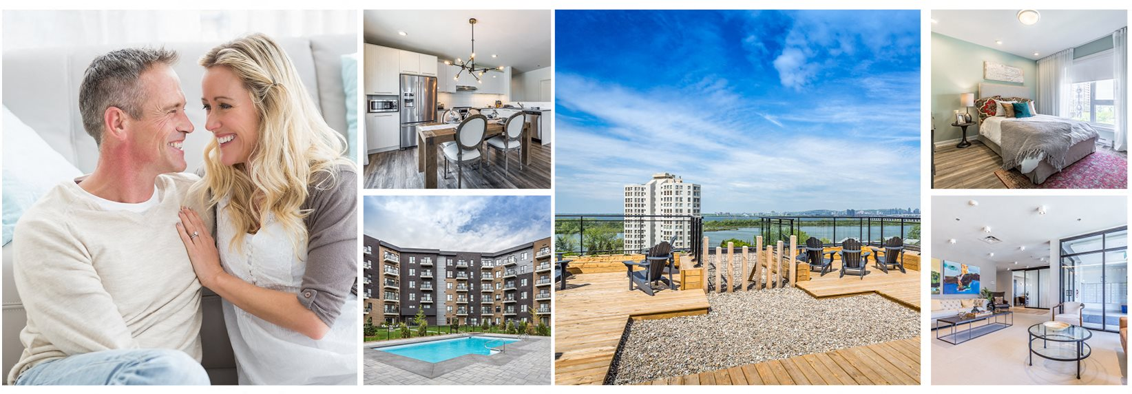 Collage of interior and exterior photos of Le Saint-Laurent Apartments