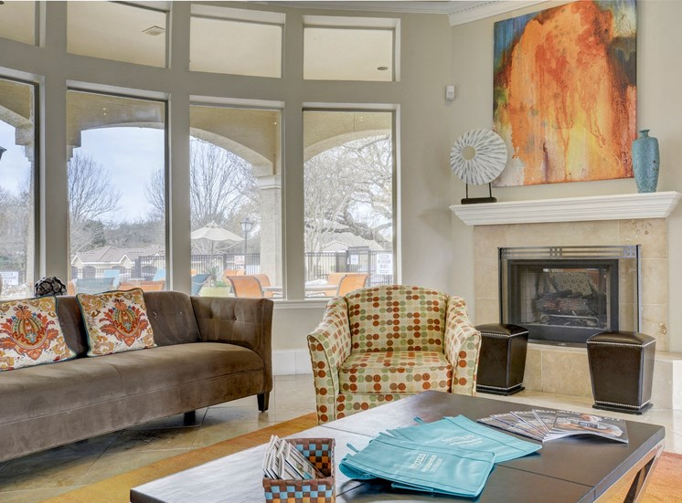 Resident lounge area with fireplace