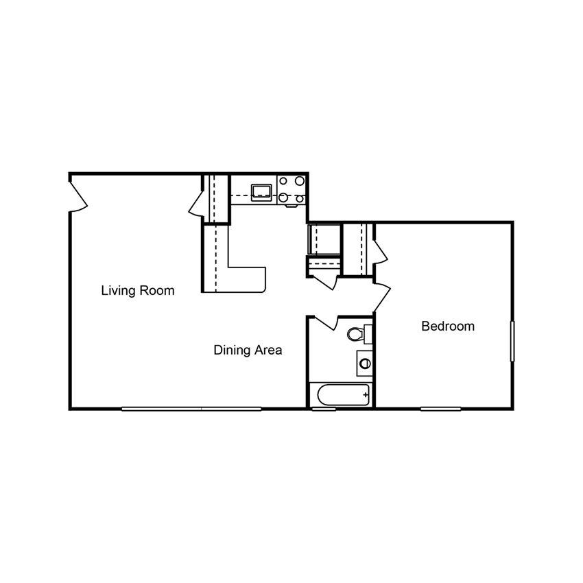 1 Bedroom 1 Bath Floor Plan