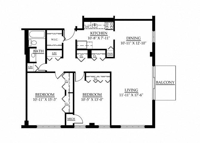 2 Bedroom 1 Bath Floor Plan