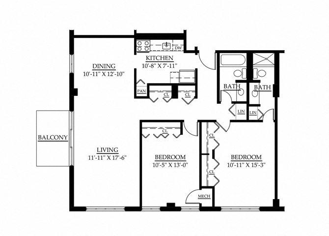 3 Bedroom 1 Bath Floor Plan