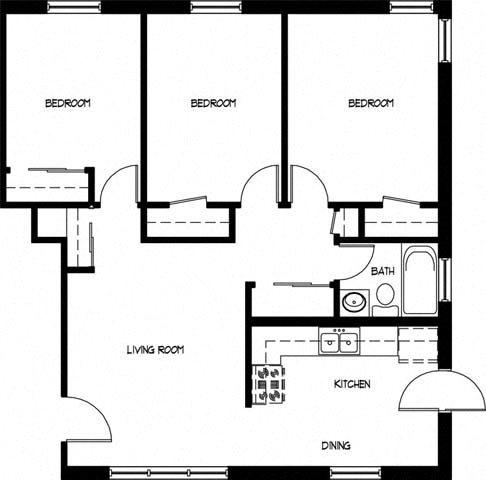 Three Bedroom One Bath Floor Plan 2