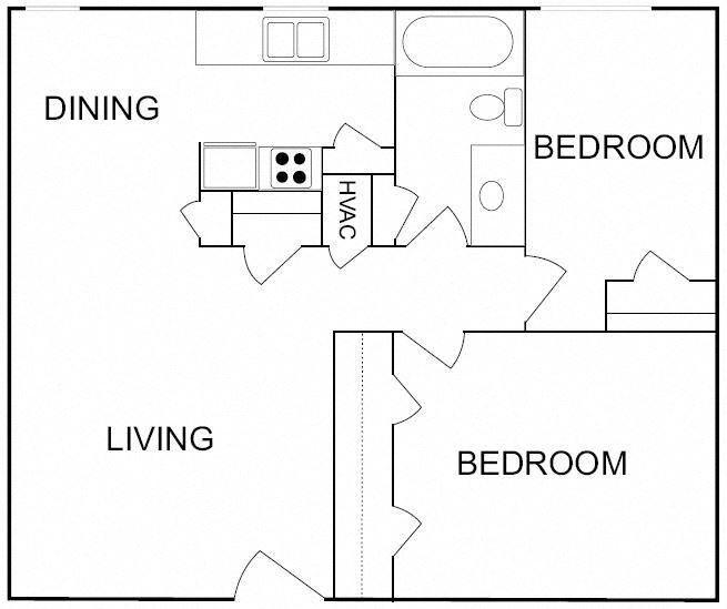 2 Bedroom/1 Bathroom- Small