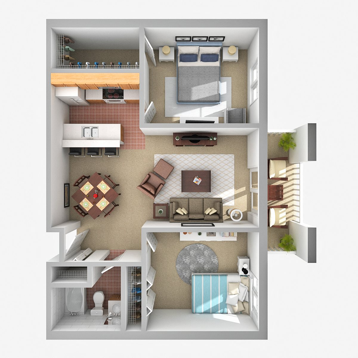 Two Bedroom C Floor Plan 1