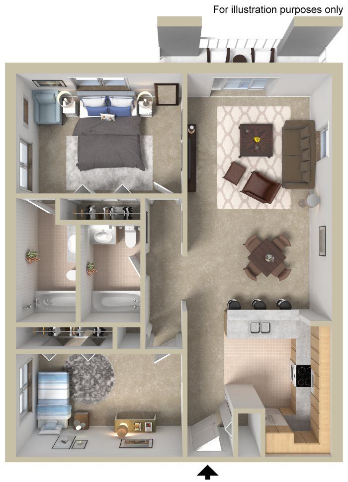 Two Bedroom Large A Floor Plan 4