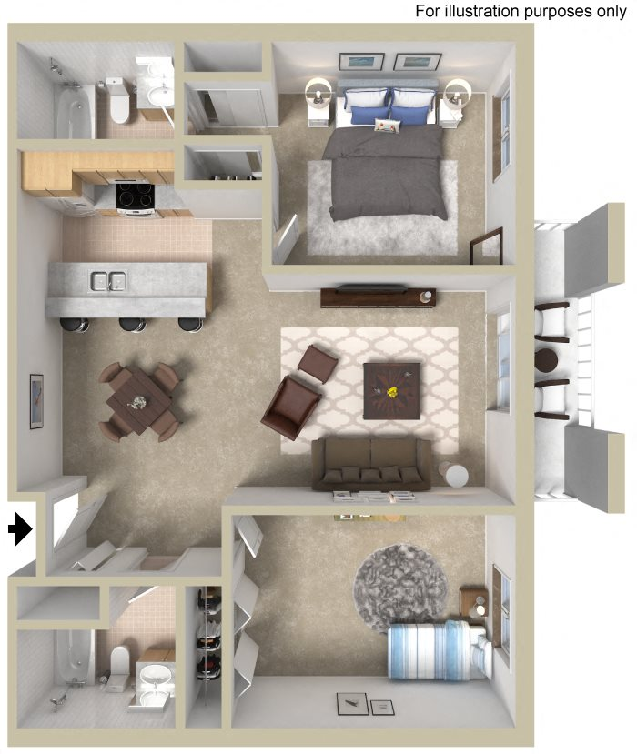 Two Bedroom B Floor Plan 3