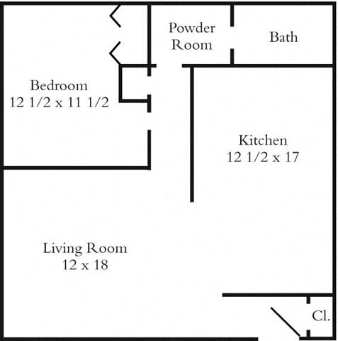 1 Bedroom 1 Bathroom Floor Plan 1