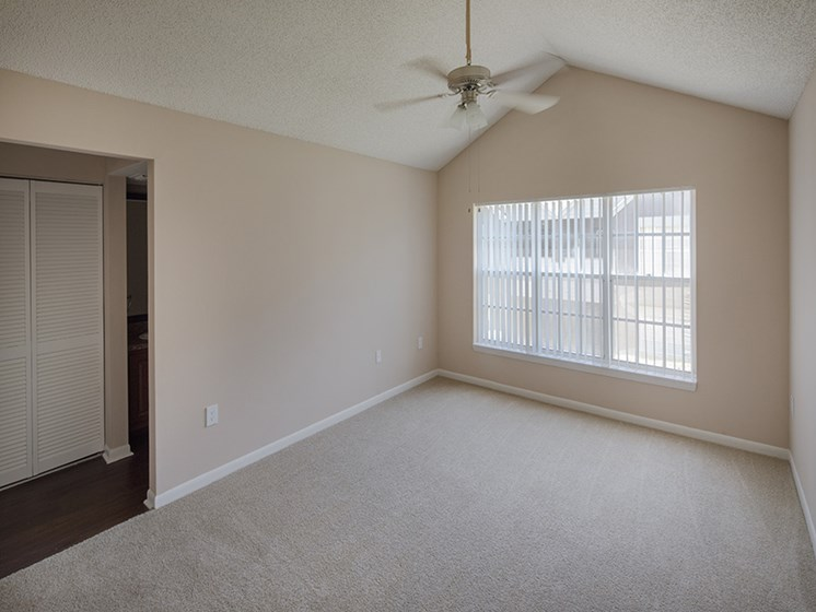 Bloomingdale Woods Apartments Valrico Florida Model Bedroom with Vaulted Ceiling and Fan