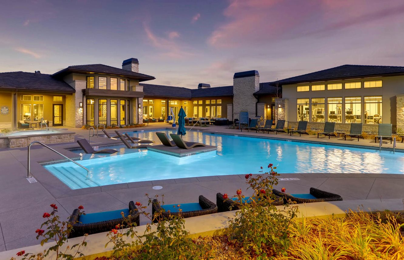 Resort Style Pool with Heated Spa and Tanning Ledge at Westerly Apartments, Littleton, CO