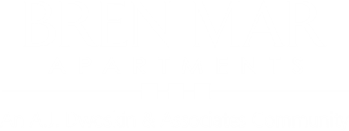 white logo for bren mar apartments
