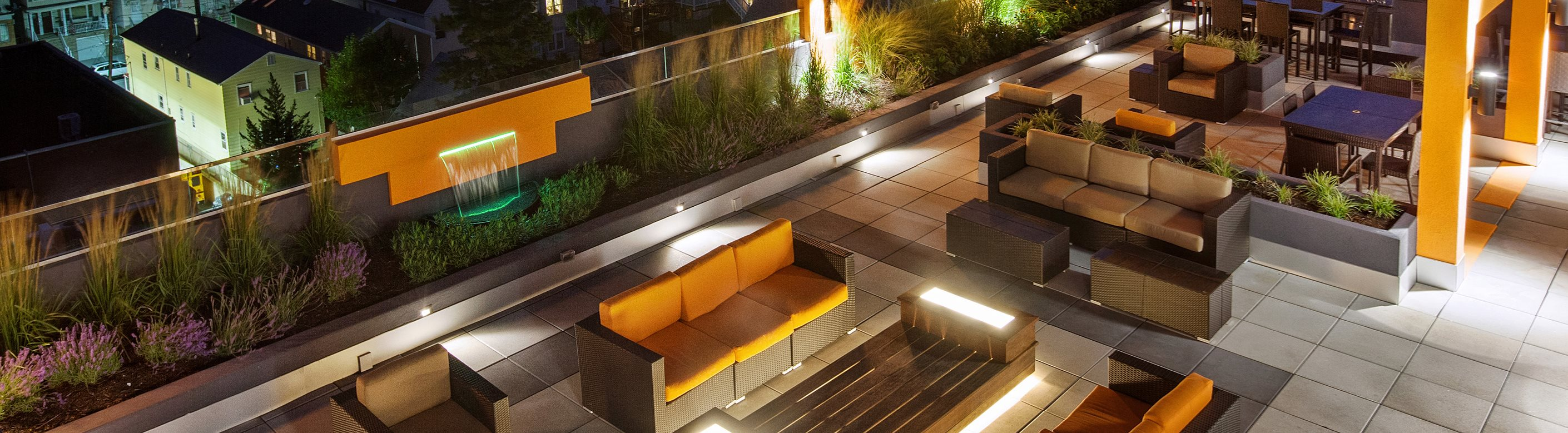 Rooftop deck lounge area