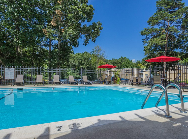 outdoor pool area during the summer day time