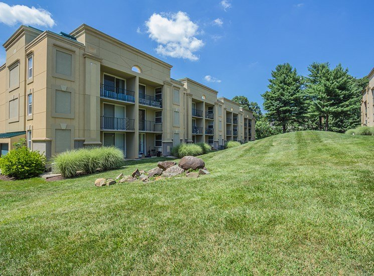 large grassy area outside of apartment complex
