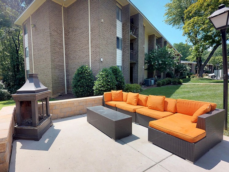 outdoor seating area for apartment complex residents