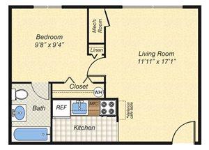 1 Bed 1 Bath - 404sf