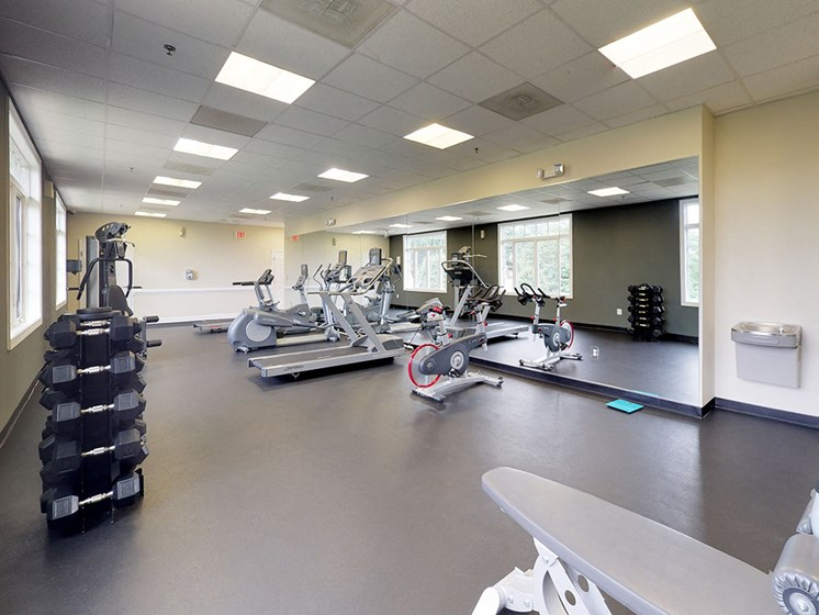 modern gym with equipment for residents of apartments in woodbridge virginia